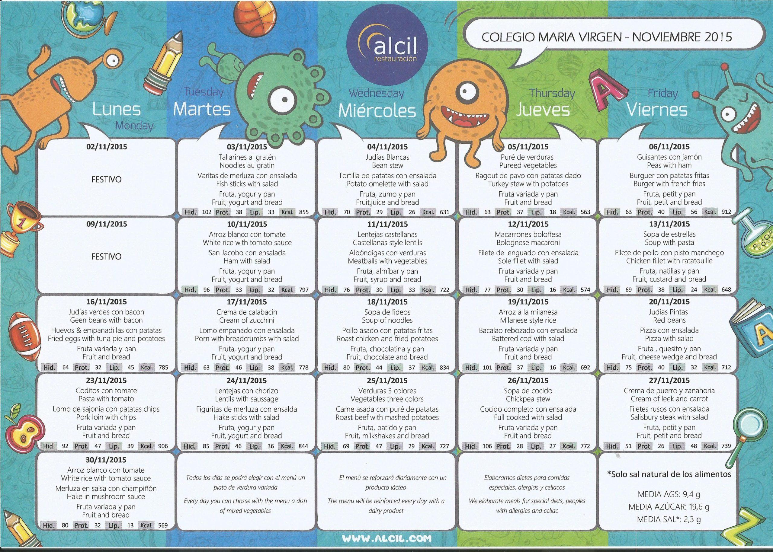 menu escolar noviembre 2015 colegio maria virgen madrid