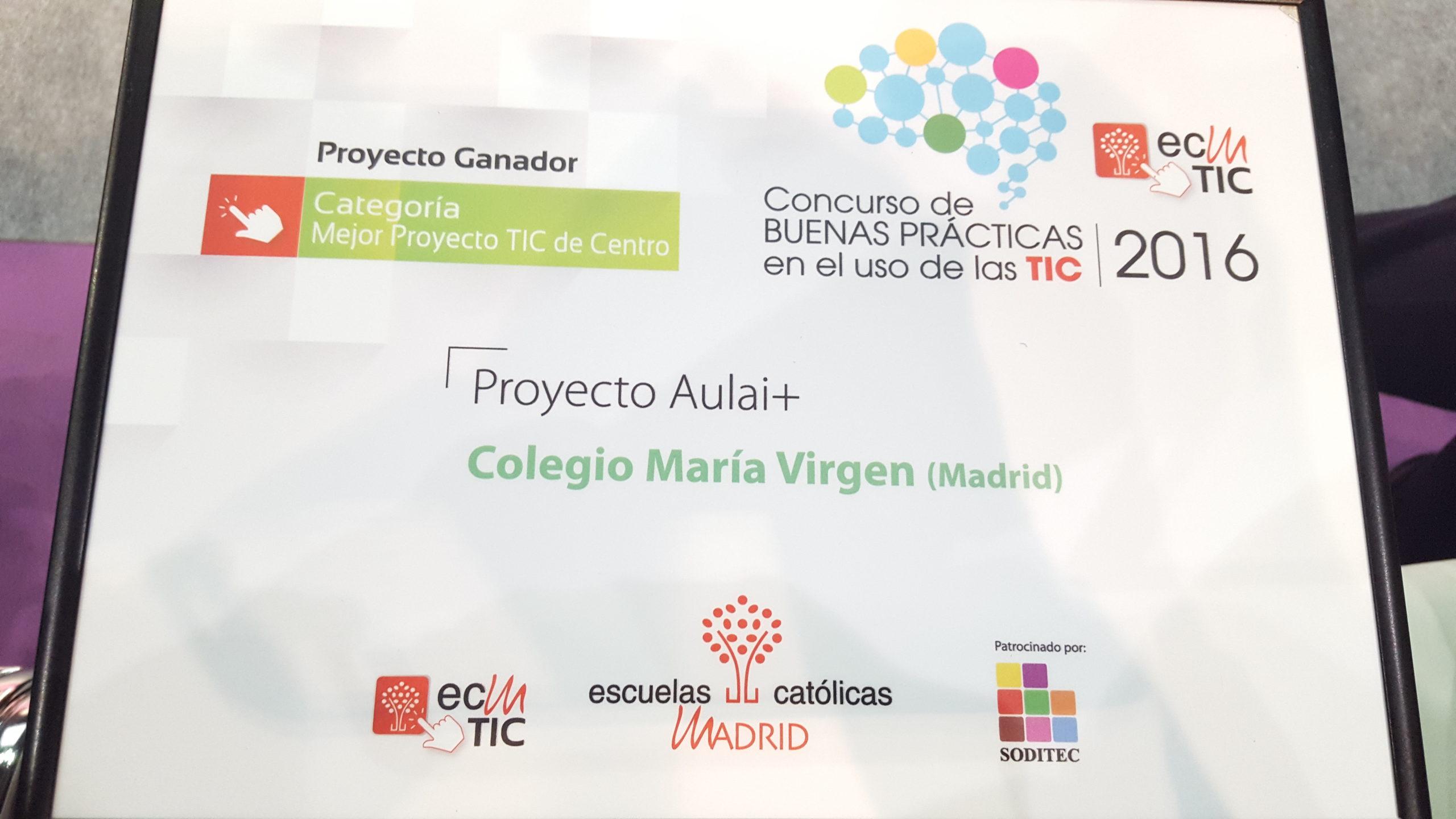 Premio Mejor Proyecto TIC Colegio María Virgen concertado