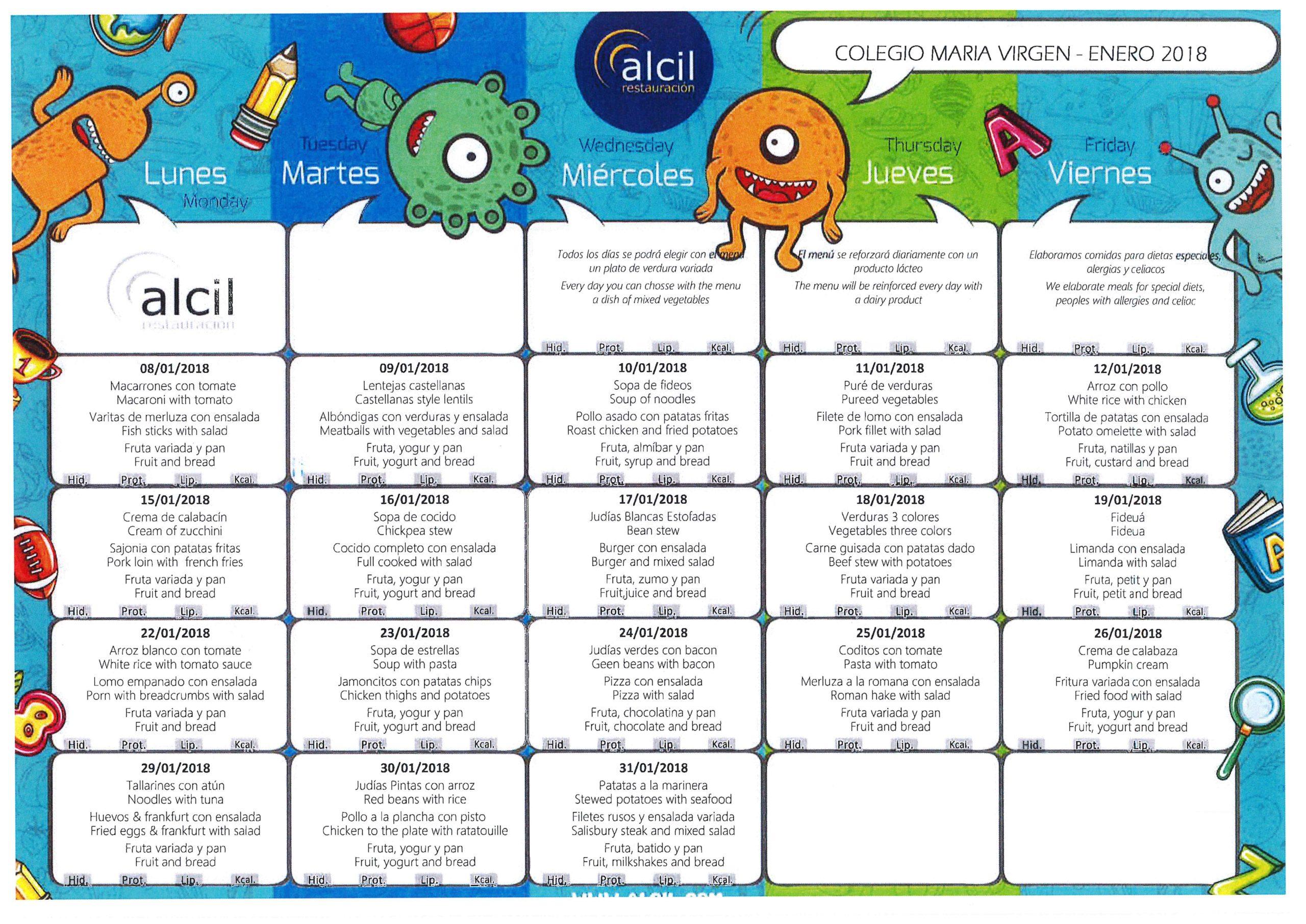 menu escolar, colegio maria virgen, madrid, chamartín, madrid, concertado, bilingüe