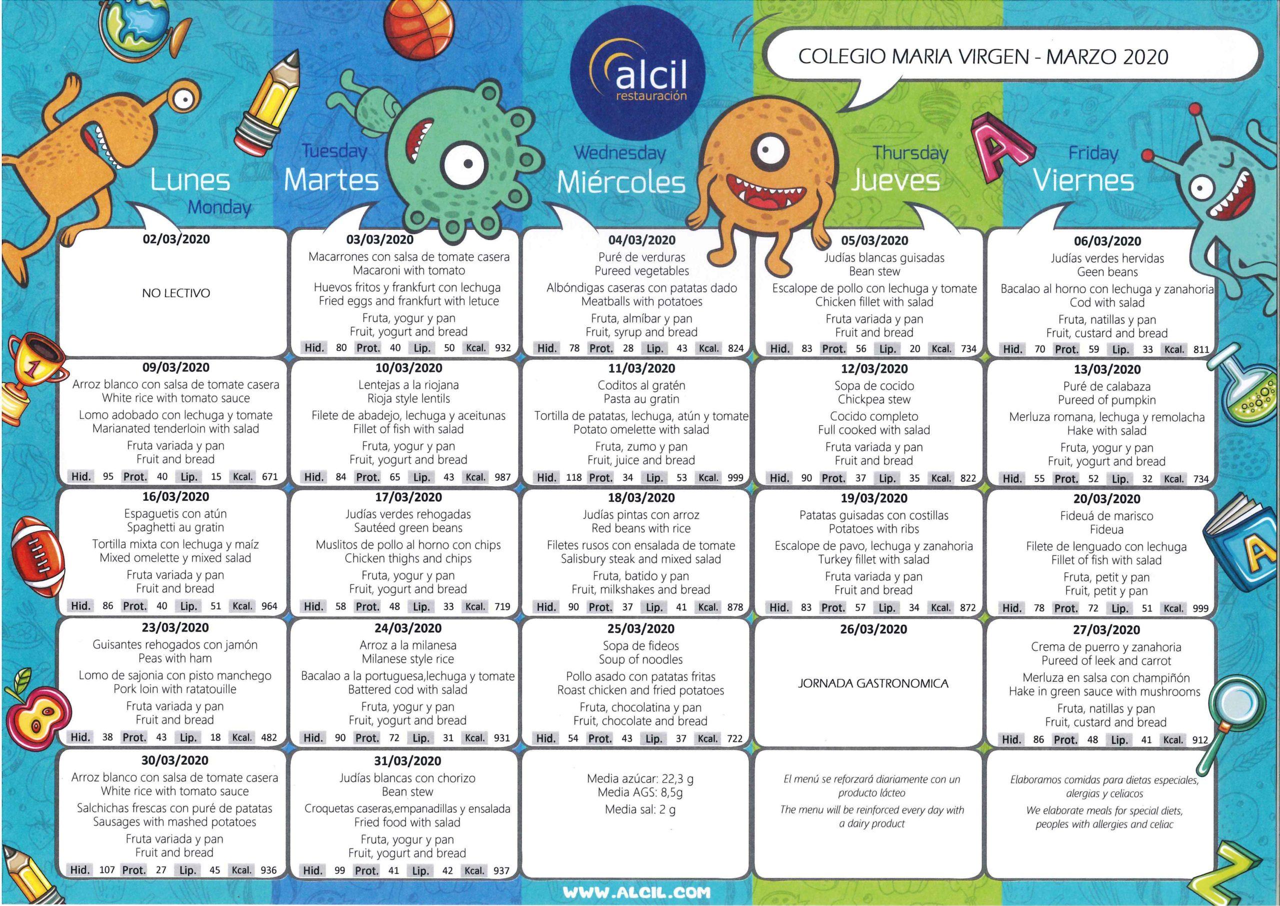 colegio maria virgen jesuitinas concertado chamartin bilingue madrid comedor menu